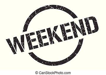 weekend stamp - weekend black round stamp