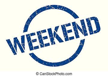 weekend stamp - weekend blue round stamp