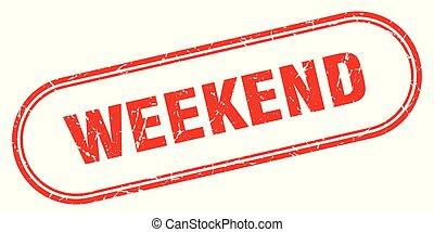 weekend stamp. weekend square grunge sign. weekend