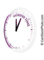 Weekend time clock vector illustration
