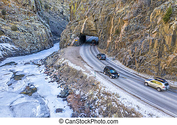 weekend traffic in mountain canyon