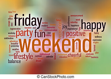 Weekend word cloud with abstract background