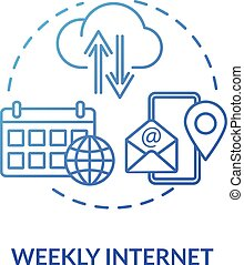 Weekly internet blue concept icon. Smartphone service. Wireless connection. Network coverage. App for mobile phone. Roaming idea thin line illustration. Vector isolated outline RGB color drawing