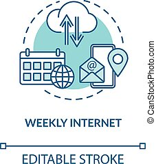 Weekly internet turquoise concept icon. Wireless connection. Network coverage. Mobile application. Roaming idea thin line illustration. Vector isolated outline RGB color drawing. Editable stroke