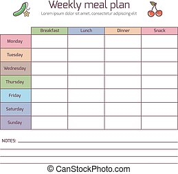 Weekly meal plan, mealtime vector diary. Meals schedule,...