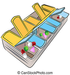 Weekly Pill Organizer - An image of a weekly pill organizer.