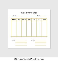 Weekly planner list background. Vector eps10 illustration