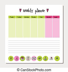 Weekly planner. Note paper, Notes, to do list. Organiser...