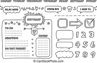 Weekly Planner. - Set of weekly planner elements and to do ...