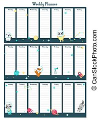 Weekly planner vector template with space animals