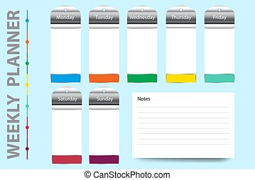 Weekly planner vector with metal labels on hanging charts