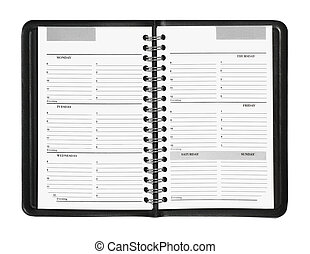 Weekly planner showing hourly schedule isolated on white