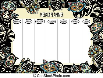 Weekly planner with tattoo design. Vector illustration