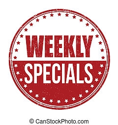 Weekly specials stamp - Weekly specials grunge rubber stamp...
