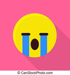 Weeping emoticon icon, flat style