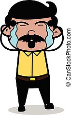 Weeping - Indian Cartoon Man Father Vector Illustration