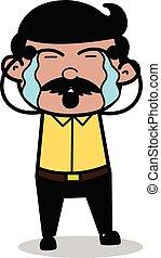 Weeping - Indian Cartoon Man Father Vector Illustration