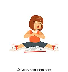 Weeping sad girl character sitting on the floor with an open book vector Illustration