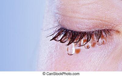 Weeping woman - closeup on eye with teardrop