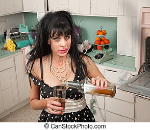 Weeping Woman - Drunk woman pouring alcohol from a bottle