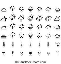 weer, iconen, in, witte achtergrond