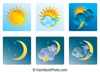 weer, nacht, set, dag, iconen