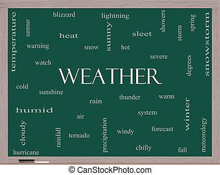 weer, woord, wolk, concept, op, een, bord