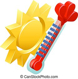 weer, zon, concept, pictogram, thermometer