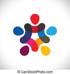 weergeven, concept, graphic., gemeenschap, eenheid, &, unie, ook, vasthouden, cirkels, friendship-, kleurrijke, illustratie, werkmannen , handen, geitjes, dit, samen, of, enz., vector, groenteblik, spelend