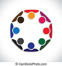 weergeven, concept, mensen, graphic., interaction-, werkmannen , ook, werknemer, cirkels, verscheidenheid, kleurrijke, illustratie, eenheid, vergadering, geitjes, dit, samen, spelend, enz., vector, groenteblik, of