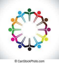weergeven, concept, mensen, graphic-, teamwork, samen., kinderen, &, ook, eenheid, werknemer, netwerk, spelend, verscheidenheid, illustratie, vergadering, handen, geitjes, dit, iconen, enz., vector, groenteblik, of