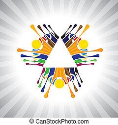weergeven, eenvoudig, graphic., together-, kinderen, mensen, humeur, &, ook, teamwork, werknemer, demonstratie, illustratie, geitjes, dit, mensen, hebben, vector, spelend, groenteblik, team, plezier, of