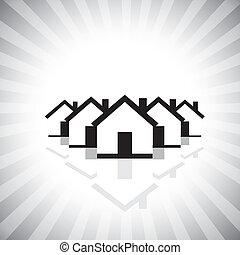 weergeven, industrie, landgoed, markt, &, woongebied, ook, eigendom, echte, het verkopen, zakelijk, bouwsector, realty, aankoop, grafisch, dit, houses., icon(symbol), enz., vector, groenteblik, eigendom, of