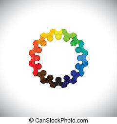 weergeven, mensen, gemeenschap, kinderen, vergaderingen, -, kleuterschool, ook, vector., werknemer, cirkel, kleurrijke, spelend, illustratie, geitjes, school, grafisch, scholieren, dit, samen, enz., groenteblik, of