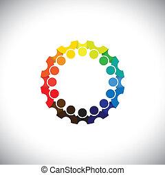 weergeven, mensen, gemeenschap, vergaderingen, netwerk, media, -, kleuterschool, ook, vector., werknemer, cirkel, kleurrijke, spelend, illustratie, geitjes, school, grafisch, scholieren, dit, enz., groenteblik, sociaal