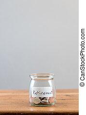 weergeven, pensioen, binnen, los, pot, glas, spaarduiten, veranderen