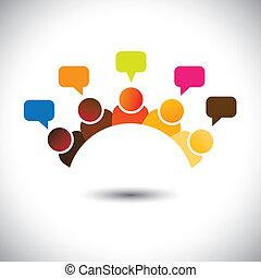 weergeven, vergaderingen, groep, kantoor, enz., dit, graphic., illustratie, teamwork, bestorming, vector, hersenen, groenteblik, leden, besprekingen, executives(employees), opinions-, airing, meningen, personeel