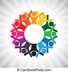 weergeven, verscheidenheid, eenvoudig, graphic., kinderen, personeel, verenigd, ook, vasthouden, werknemer, cirkel, vrolijke , collaborative, illustratie, vergadering, hands-, werkmannen , dit, of, enz., vector, groenteblik, spelend, stafmedewerkers