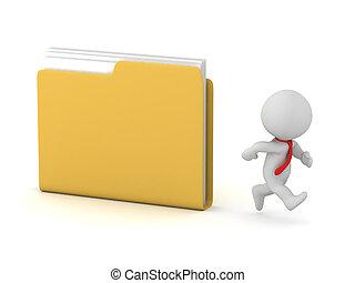 weg, karakter, rennende , bestand directory, 3d