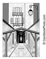 weg, steegje, tunnel, oud