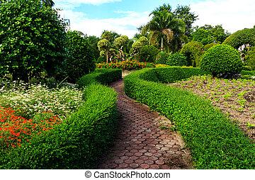 weg, tuin, design.