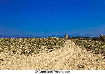 weg, zu, der, altes , windmühle