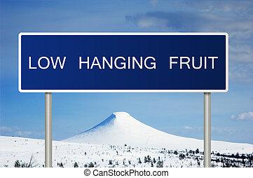wegaanduiding, met, tekst, laag, hangend, fruit