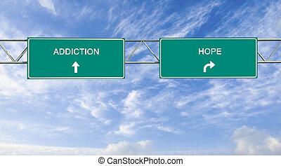 wegaanduiding, om te, verslaving, en, hoop