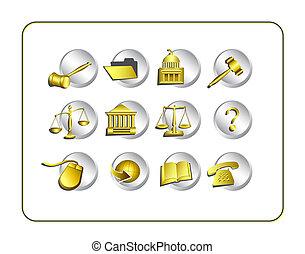 wegen, af)knippen, set, wettelijk, pictogram