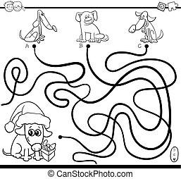 wegen, doolhof, spel, met, honden, voor, kleuren