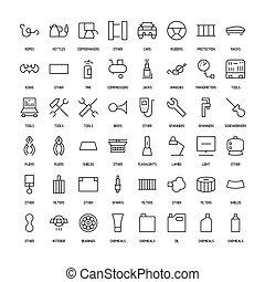 wegen, iconen, eenvoudig, auto's, set., producten