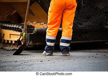 wegenbouw, arbeider, en, schop