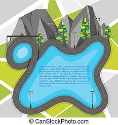 wegenkaart, met, bergen, en, bomen