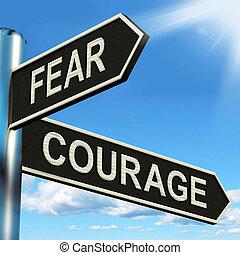 wegwijzer, bang, moedig, moed, vrees, of, optredens